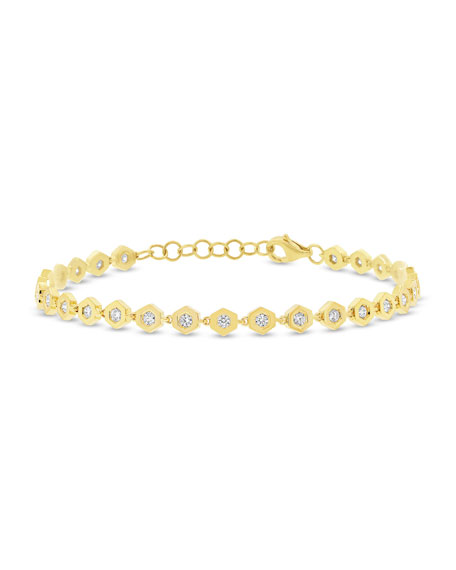 Diamond Love Bolt Bracelet in 14K Gold
