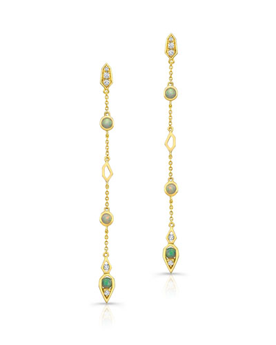 Opal Cabochon & Diamond Drop Earrings