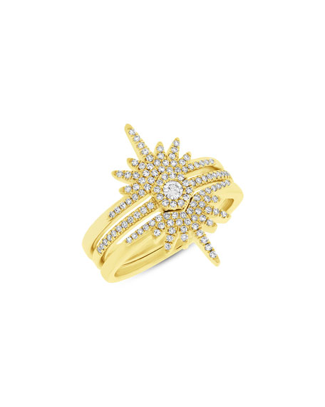Starburst Love Bolt Stacking Rings with Diamonds, Size 7