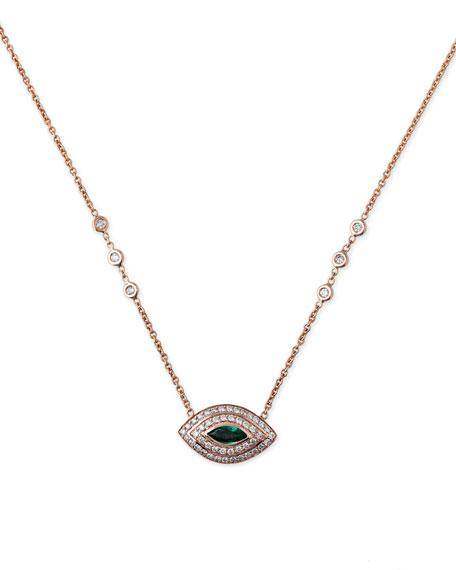 Diamond & Emerald Eye Pendant Necklace