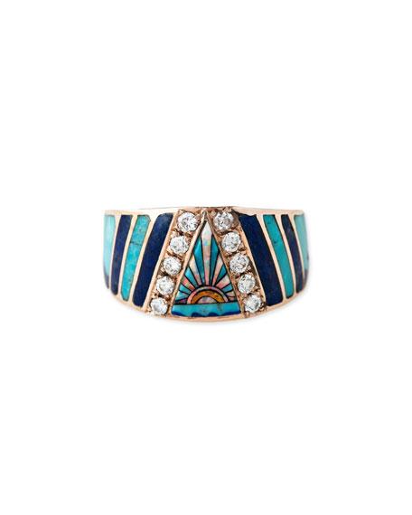 Sunset Opal & Diamond Mosaic Ring