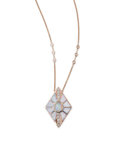 Opal & Diamond Kite Necklace in 14K Rose Gold