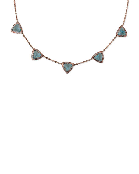 Aquamarine & Diamond Triangle Pyramid Necklace in 14K Rose Gold