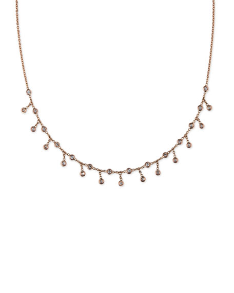Spaced Diamond Shaker Necklace in 14K Rose Gold