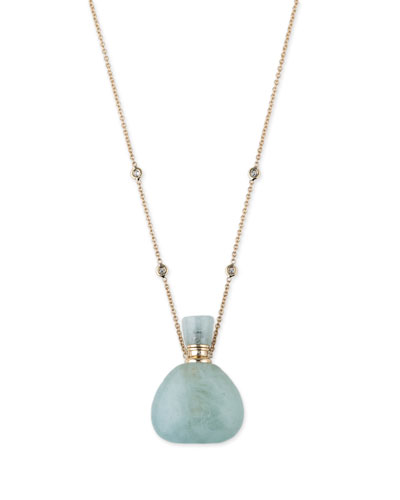 Aquamarine Potion Bottle Necklace with Diamonds