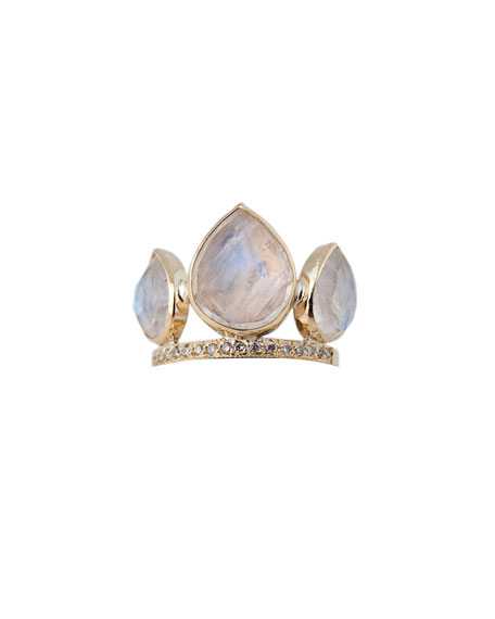Moonstone Petal Triple-Stack Ring with Diamonds