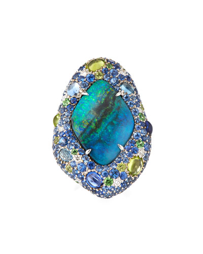 Opal Ring with Diamonds & Sapphires in 18K White Gold, Size 6.5