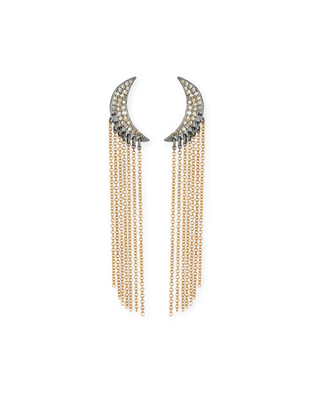 Diamond Moon Chain Drop Earrings in 14K Yellow Gold