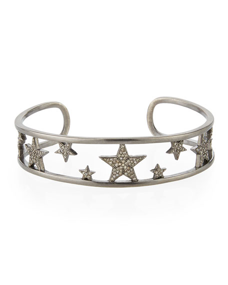 Pavé Diamond Star Cuff Bracelet
