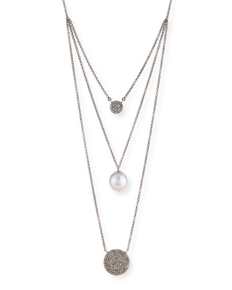 Double Diamond & Pearl Pendant Necklace