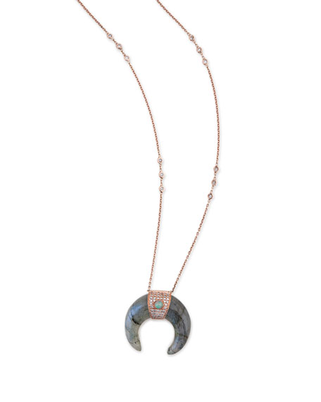 Labradorite Double-Horn Necklace with Diamonds