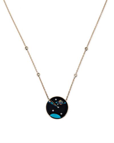 Galaxy Cancer Zodiac Opal Pendant Necklace with Diamonds