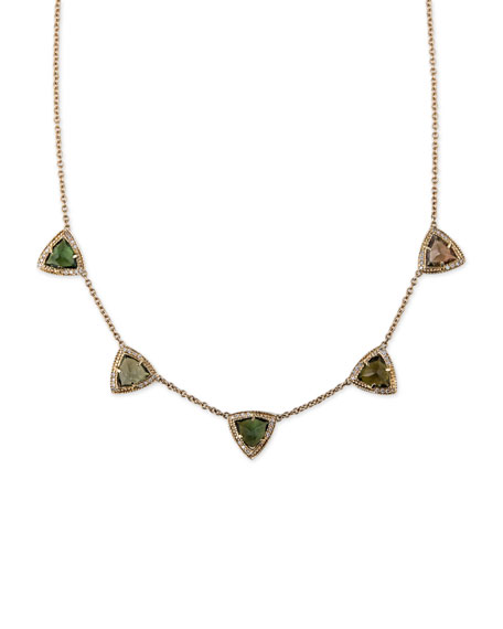 Green Tourmaline & Diamond Pyramid Necklace