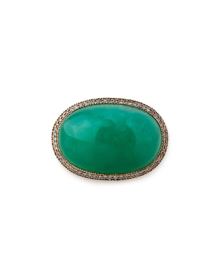 Chrysoprase Cabochon Cocktail Ring with Diamonds