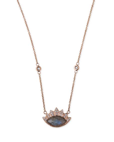 Labradorite & Diamond Eye Pendant Necklace