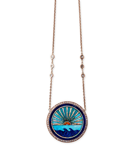 Sunset Opal Mosaic Pendant Necklace with Diamonds