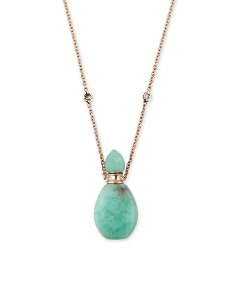 Chrysoprase Potion Bottle Necklace with Diamonds