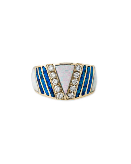 Jacquie Aiche White & Blue Opal Triangle Ring
