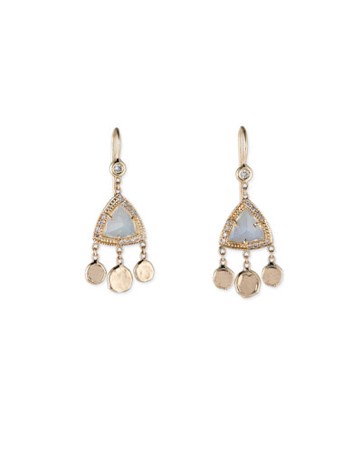 Triangle Opal Shaker Hoop Earrings