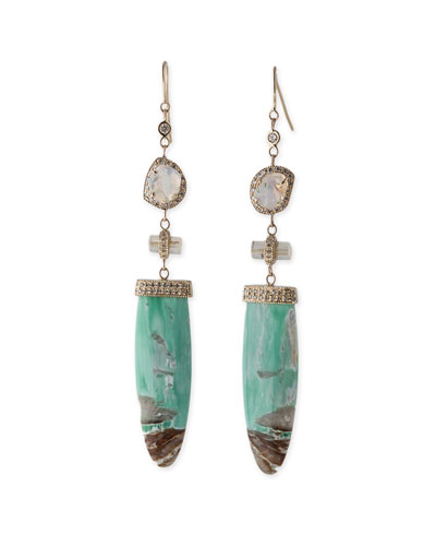 Opal & Rutilated Quartz Drop Earrings with Diamonds