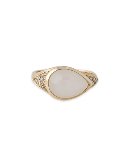 Sideways Teardrop Opal Signet Ring with Diamonds