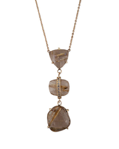Freeform Rutilated Quartz & Diamond Triple-Step Necklace