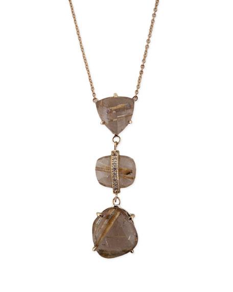 Freeform Rutilated Quartz & Diamond Triple-Step Necklace