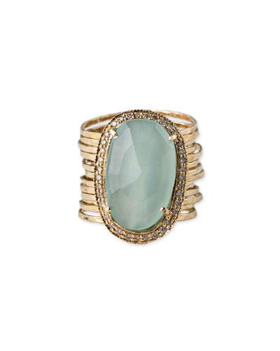 Oval Aquamarine & Diamond Multi-Band Ring