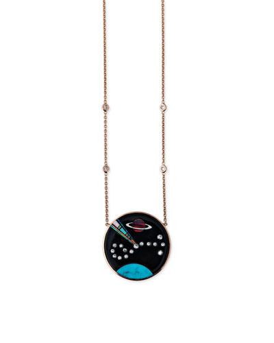 Galaxy Taurus Pendant Necklace with Diamonds