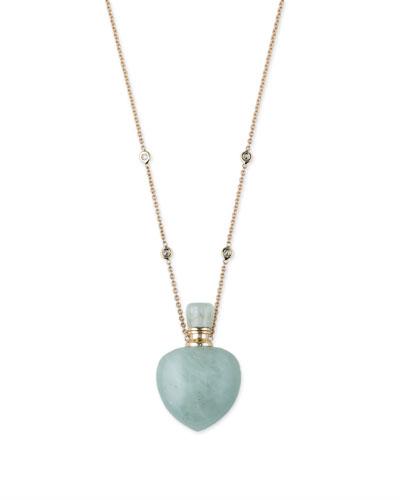 Aquamarine Heart Potion Bottle Necklace with Diamonds