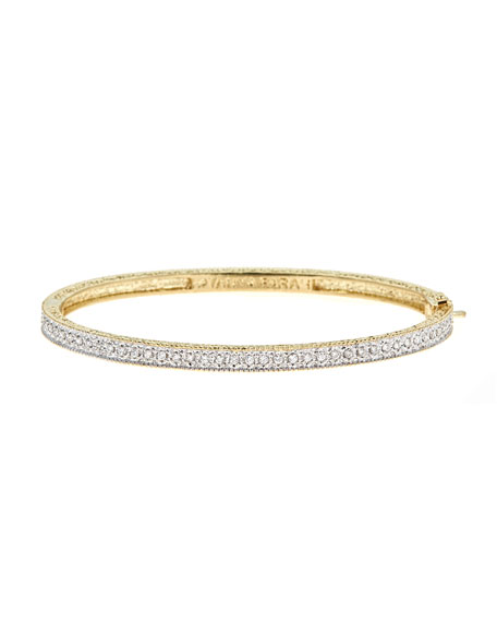 Modern Etruscan Pave Diamond Bangle Bracelet
