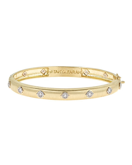 Slim Modern Etruscan Bangle Bracelet with Diamonds