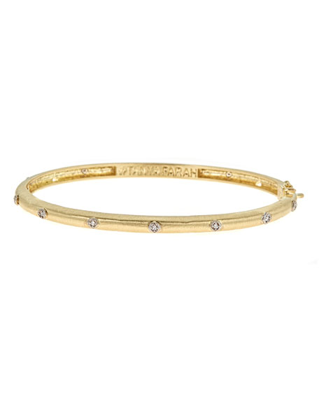 Modern Etruscan 18K Gold Bracelet with Diamonds