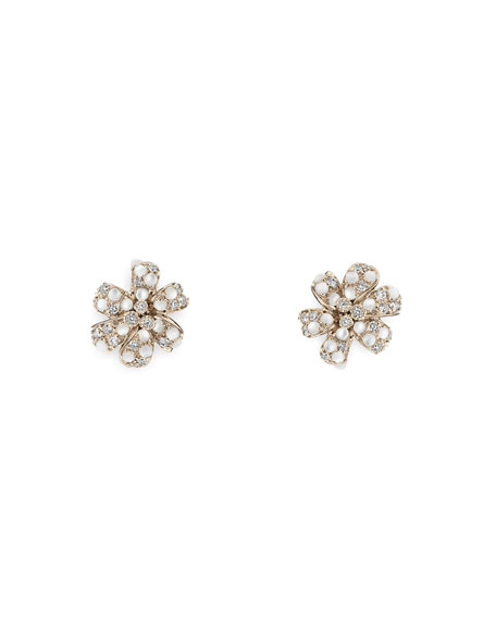 Flora Stud Earrings with Diamonds