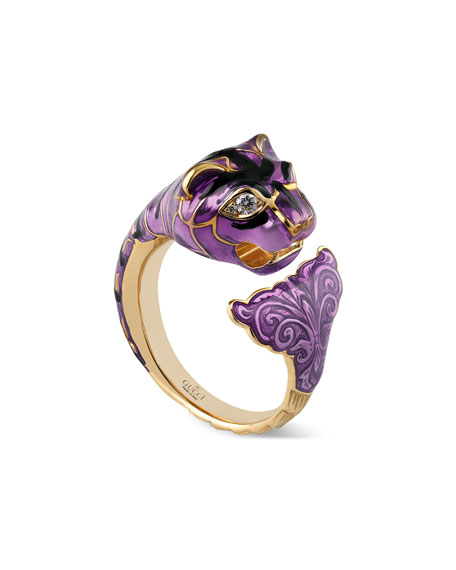 Feline Head Ring with Violet Enamel & Diamonds, Size 6.75