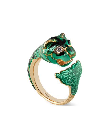 Feline Head Ring with Diamonds, Size 6.75
