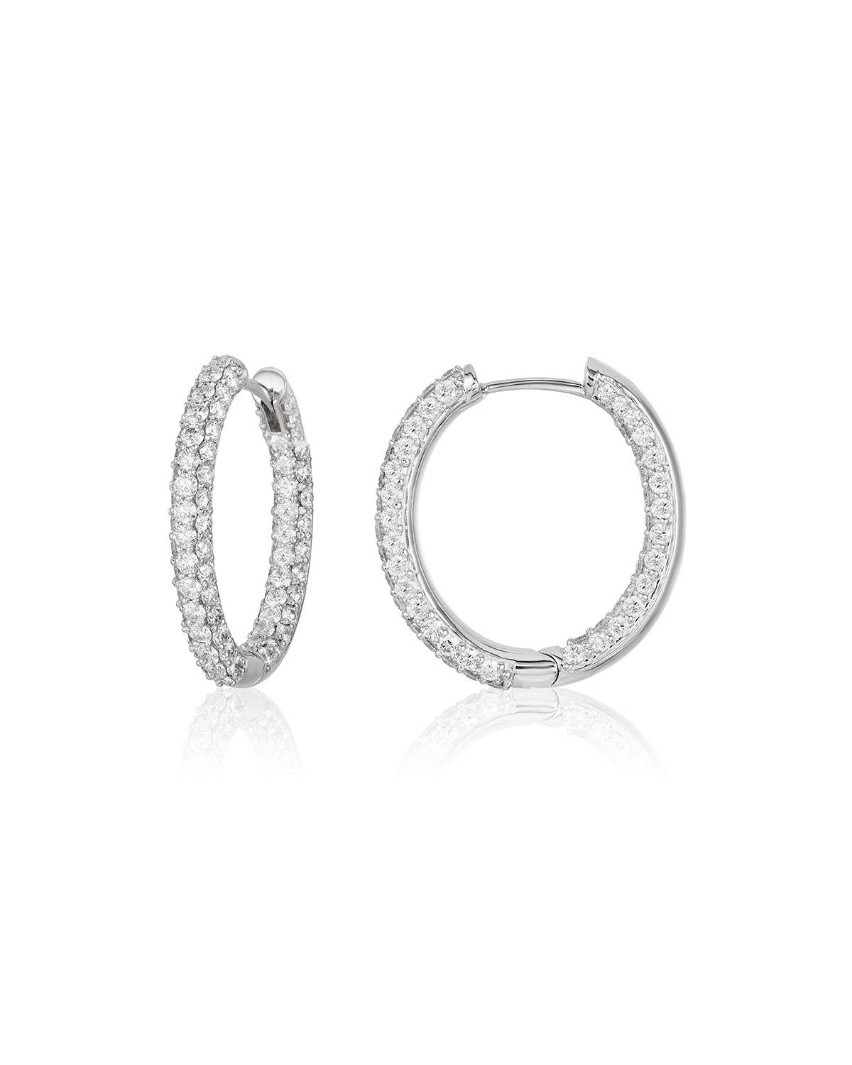 Medium Pave Diamond Hoop Earrings In 18k White Gold