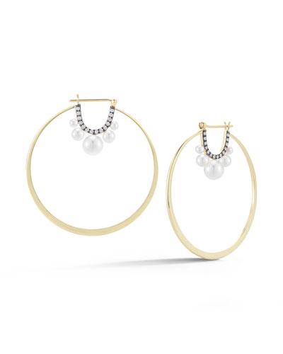 Prive Pearl & Diamond Hoop Earrings