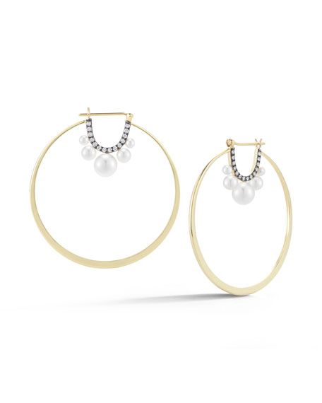 Jemma Wynne Prive Pearl & Diamond Hoop Earrings