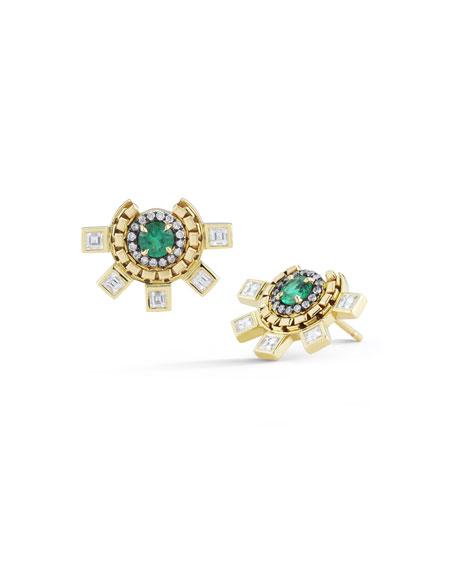 Revival Diamond & Emerald Stud Earrings