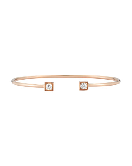 Diamond Cube Open Cuff Bracelet in 18K Rose Gold