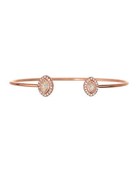 Marquis Diamond Open Cuff Bracelet in 18K Rose Gold