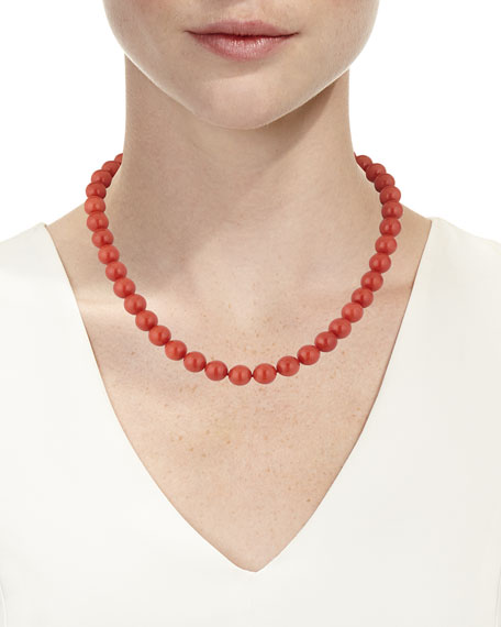 18k Sardinian Coral Bead Necklace w/ Diamond Clasp, 9.4mm