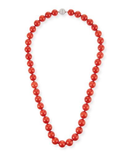 18k Sardinian Coral Bead Necklace w/ Diamond Clasp, 9.4mm