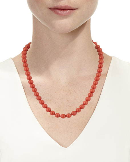 18k Sardinian Coral Bead Necklace w/ Diamond Clasp, 8.2mm