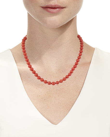 18k Sardinian Coral Bead Necklace w/ Diamond Clasp, 7.7mm