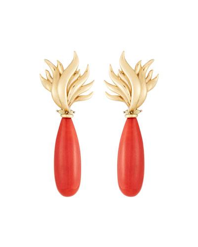 18k Coral Flame Teardrop Earrings