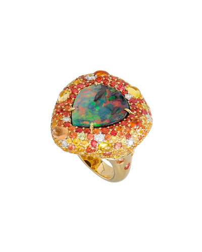 18k Boulder Opal Pear Ring w/ Mixed Pavé, Size 6.5