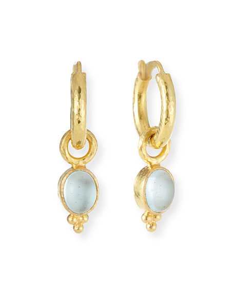 19k Gold Aquamarine Earring Pendants