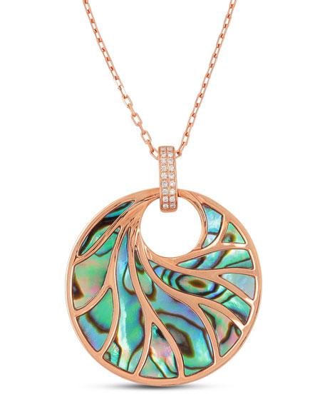 Medium Round Abalone & Diamond Necklace in 18K Pink Gold